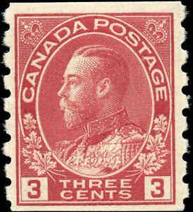 1924-Mint-H-Canada-3c-F-Scott-130-Admiral-KGV-Coil-Stamp
