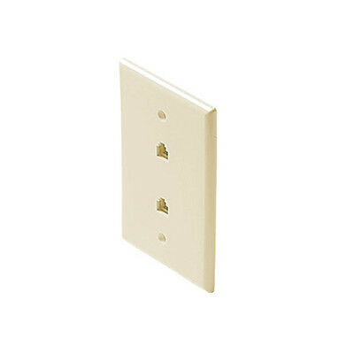 Eagle Telephone Dual Wall Plate White Jack Modular RJ11 4 Conductor pack of 25