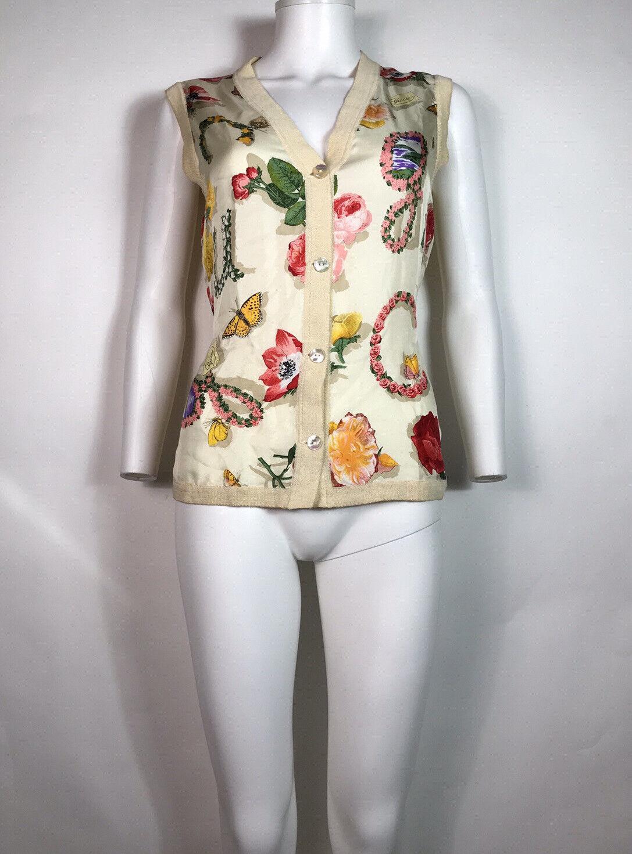 Rare Vtg Gucci 90s Ecru Floral Print Silk Linen B… - image 2