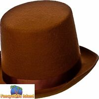 INDESTRUCTABLE BROWN OLD ENGLAND TOP HAT One Size FAST POST Mens Fancy Dress