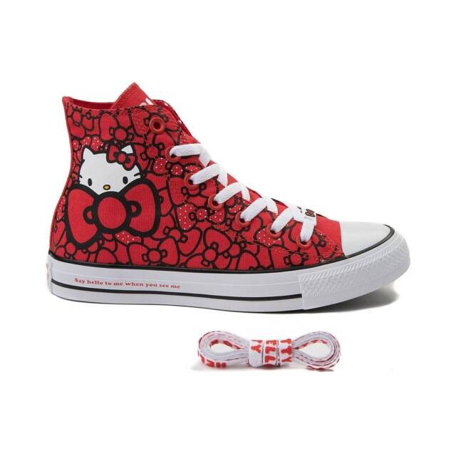 New Converse Chuck Taylor All Star Hi Hello Kitty Bows Sneaker Red