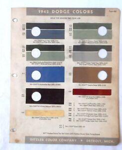 Details about 1942 DODGE PPG COLOR PAINT CHIP CHART ALL MODELS ORIGINAL  MOPAR