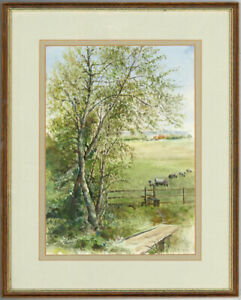 George-Berrington-Signed-and-Framed-1989-Watercolour-The-Farmlands