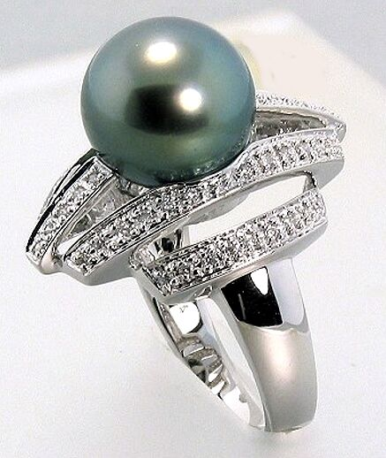 10.5-11MM Tahitian Pearl Diamond W-Style Ring 0.26CT. 18K White gold Size 7, NEW