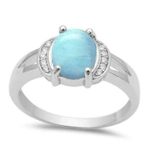 Solid Oval Natural Larimar .925 Sterling Silver Ring