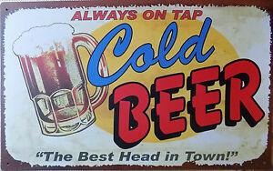 Platte-Metall-Werbung-Vintage-Retro-Bier-Cold-Bier-42-X-26-CM