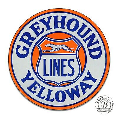 Greyhound Lines Yelloway Bus Line Design Reproduction Circle Aluminum Sign
