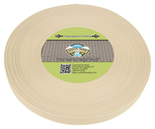 25 Yards Country Brook Design® 1 Inch Cream Polypro Webbing