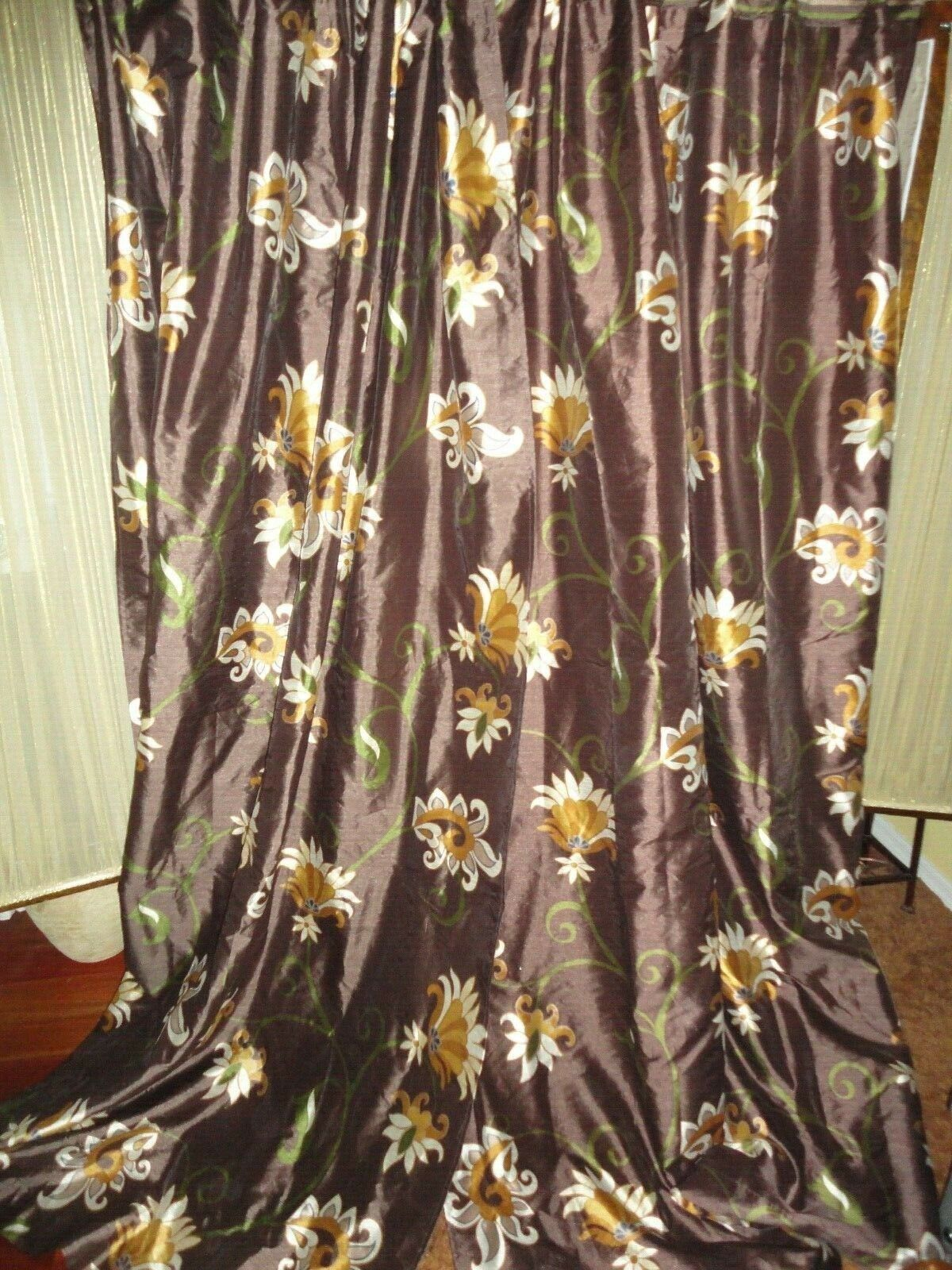 PIER 1 IMPORTS SCROLL BLOOM braun FLORAL (PAIR) DRAPERY PANELS CURTAINS 52 X 84