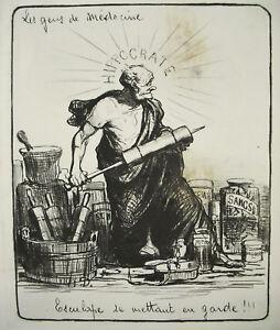 Agressif Hippocrate Esculape Se Mettant En Garde Les Gens De Médecine Gravure Seringue ArôMe Parfumé