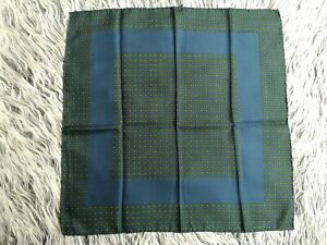 Vtg-Unknown-Brand-Made-in-Italy-All-Silk-Hand-Rolled-Blue-Green-Pocket-Square