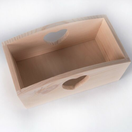 Wooden Plain Decorative Storage Trinket Box Heart Tray// Fruit Bread Decoupage