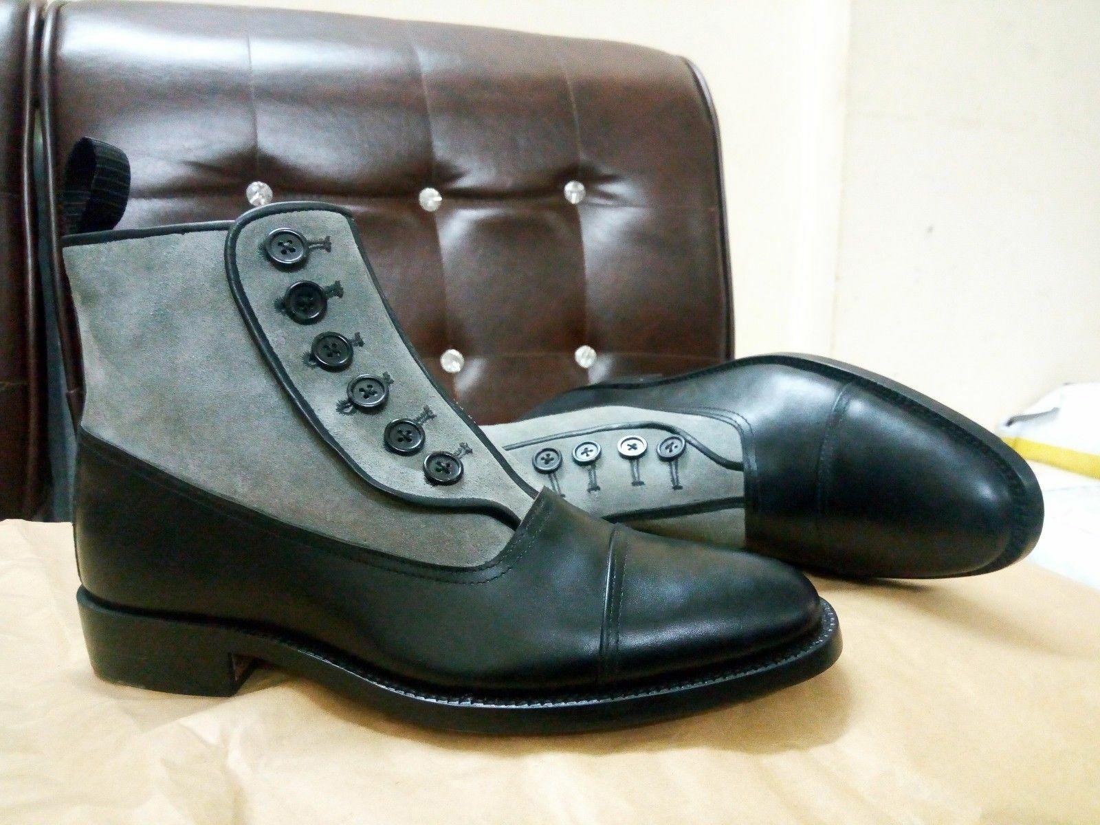 botas para hombre hecho a mano de cuero de gamuza botón superior Esmoquin Ropa Formal Informal Zapatos Nuevos