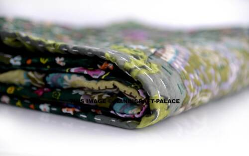 Indian Patchwork Quilt Kantha Paisley Print Bedspread Cotton Blanket Twin Size