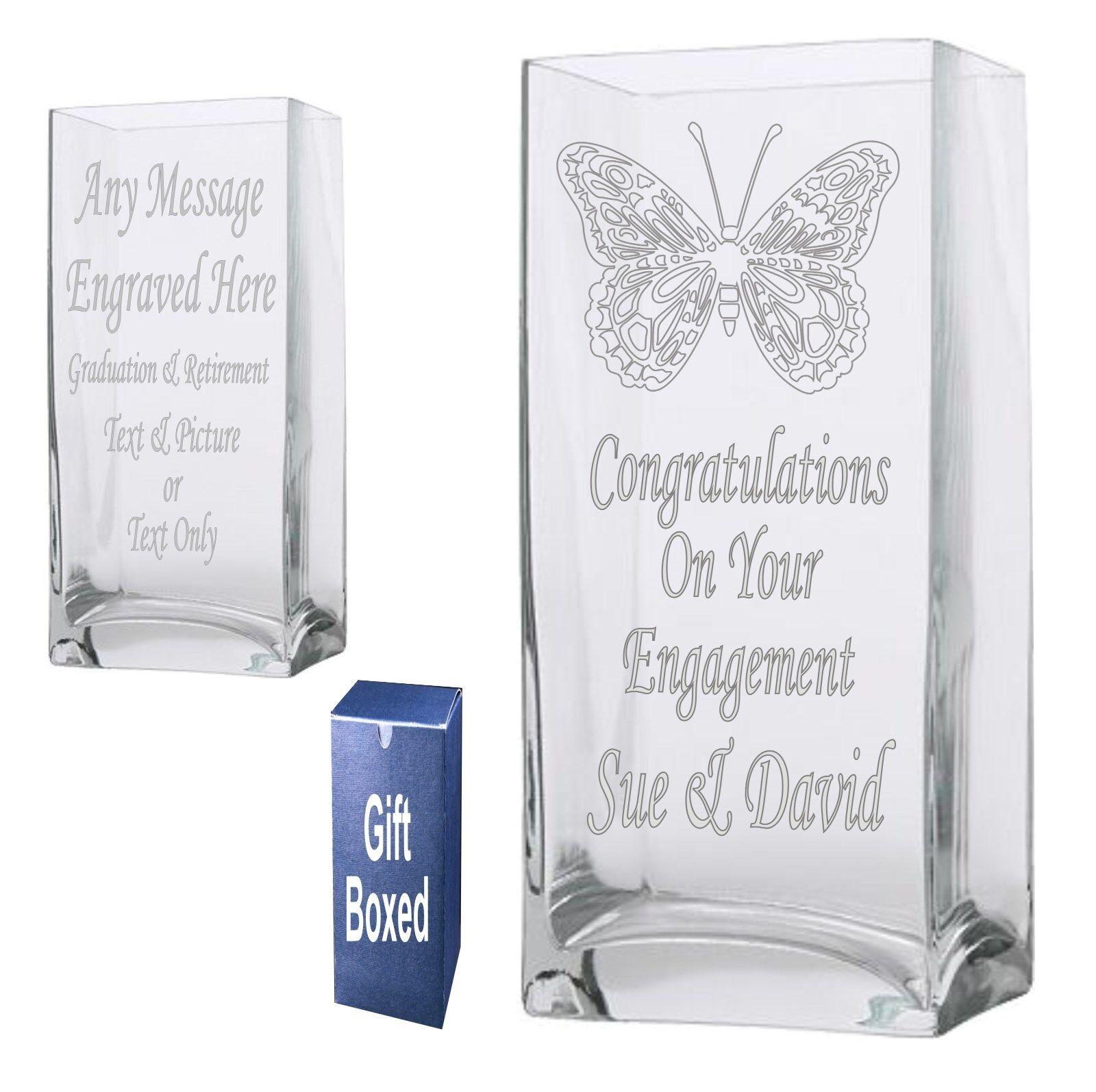 Vase rectangle gravé 22cm engagement, graduation, la retraite Cadeau