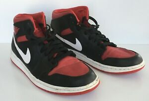 403f8046186d0 NIKE 2014 AIR JORDAN 1 RETRO MID BLACK  GYM RED  WHITE 554724-020 ...