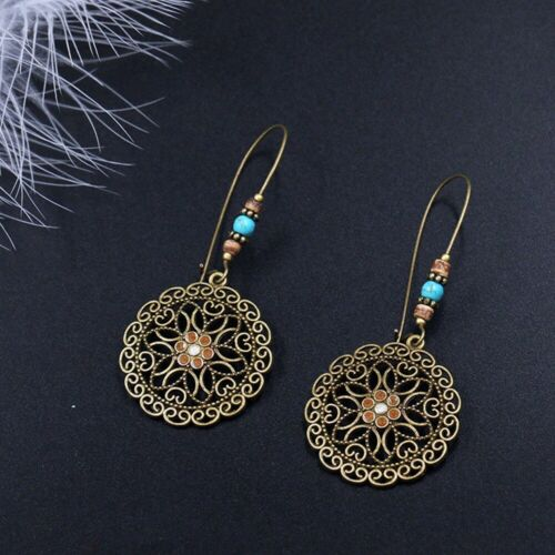 Fashion Retro Hollow Out Turquoise Ear Studs Flower Drop Earring Dangle