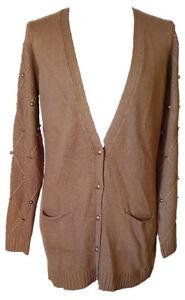 quality design 51ab1 bae6b Dettagli su Cardigan Maglione Lungo Maglia Pietre Strass Donna Lana  Nocciola Oro ARTIGLI L