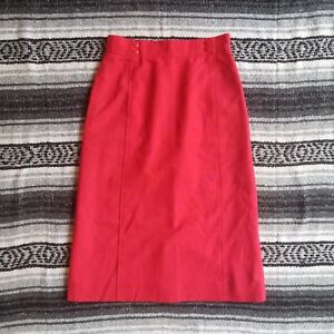 Vintage-The-Villager-Sz-8-Fully-Lined-Knee-Length-A-Line-Skirt-Red-Button-Detail