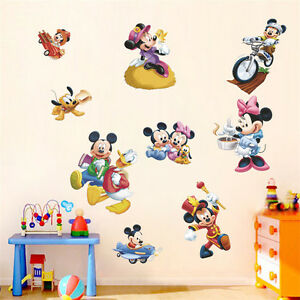 Image Is Loading Cute Mickey Minnie Mouse Wall Sticker Vinyl Decals