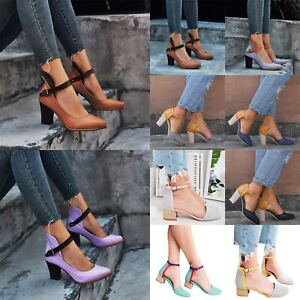 Womens-Mid-High-Block-Heels-Ankle-Strap-Buckle-Shoes-Casual-Party-Sandals-Pumps