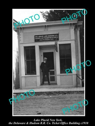 OLD 8x6 HISTORIC PHOTO OF LAKE PLACID NEW YORK, RAILROAD TICKET OFFICE c1910