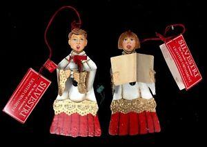 Vintage-Set-Silvestri-Hand-Painted-Boy-amp-Girl-Carolers-Lighted-Ornaments-NWT-HTF