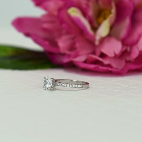 1.25 Ct Round Cut Solitaire Diamond Engagement Ring 14k White Gold Over 5
