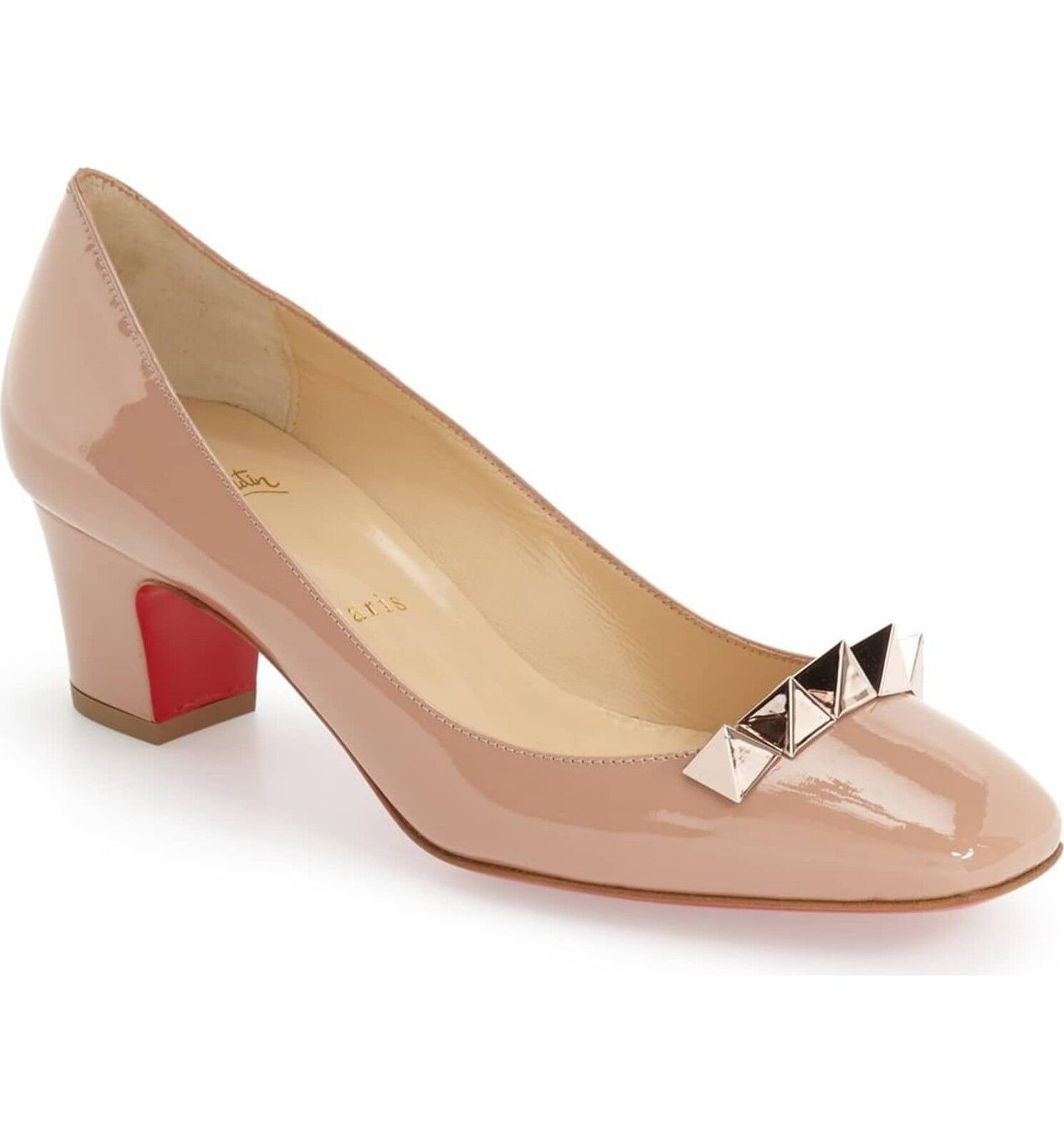 Christian Sole Louboutin Pyramidame Block-Heel rot Sole Christian Pump, Neutral 457cc3