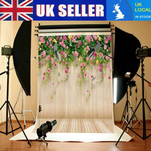5x7ft Flower Wood Plank Floor Wall Photography Background Studio Backdrop Props
