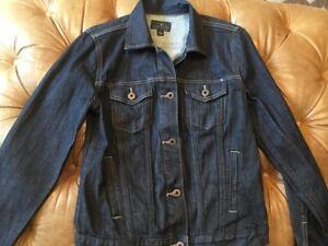 Lucky-Brand-Womens-Denim-Jacket-XS-Dark-Wash-Jean-100-Cotton-Trucker