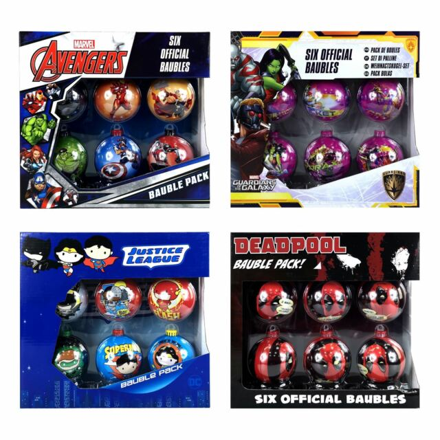 Marvel Christmas Tree Topper.Official Star Wars Marvel And Dc Comics Christmas Tree Baubles 6pc Packs
