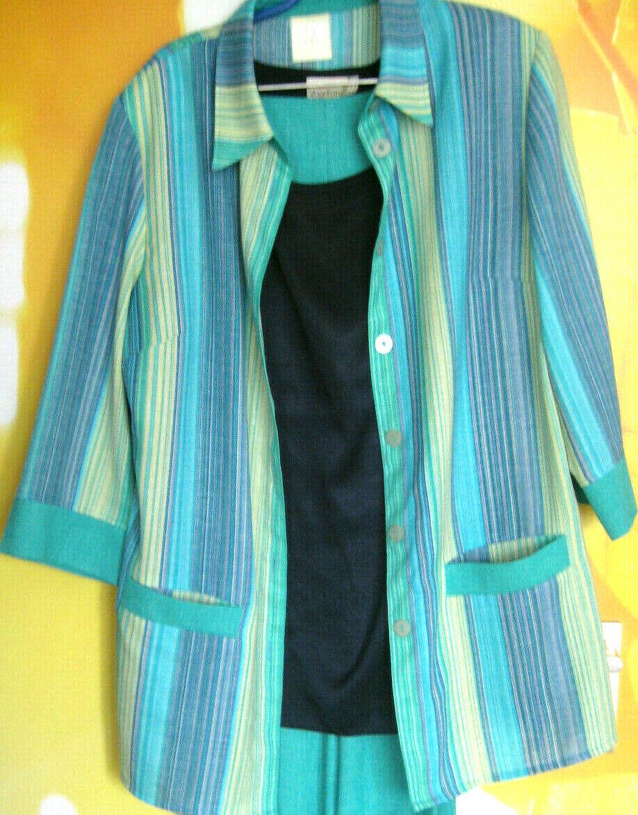 Damen Dreiiteiler Set in 44 Größe ( Blausenjacke, Top, Hose)