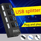 4 Ports USB 3.0 Speed HUB With On/Off Switch Power Adapter For Desktop Laptop