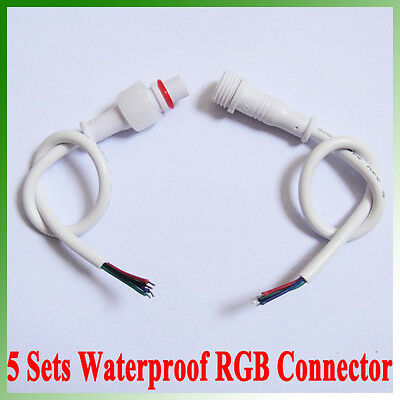 5 X Sets 4Pin IP68 Waterproof Connector Cable For RGB 5050 3528 Led Strip