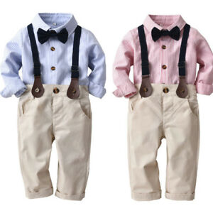 Kids Baby Boys Hot Day Gentleman Blouse Tops Shirt+Suspenders Shorts Pants Set