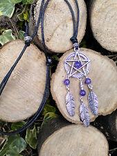 Dream Catcher Dragons Vein Purple Agate Feather Pentagram Black Cord Choker