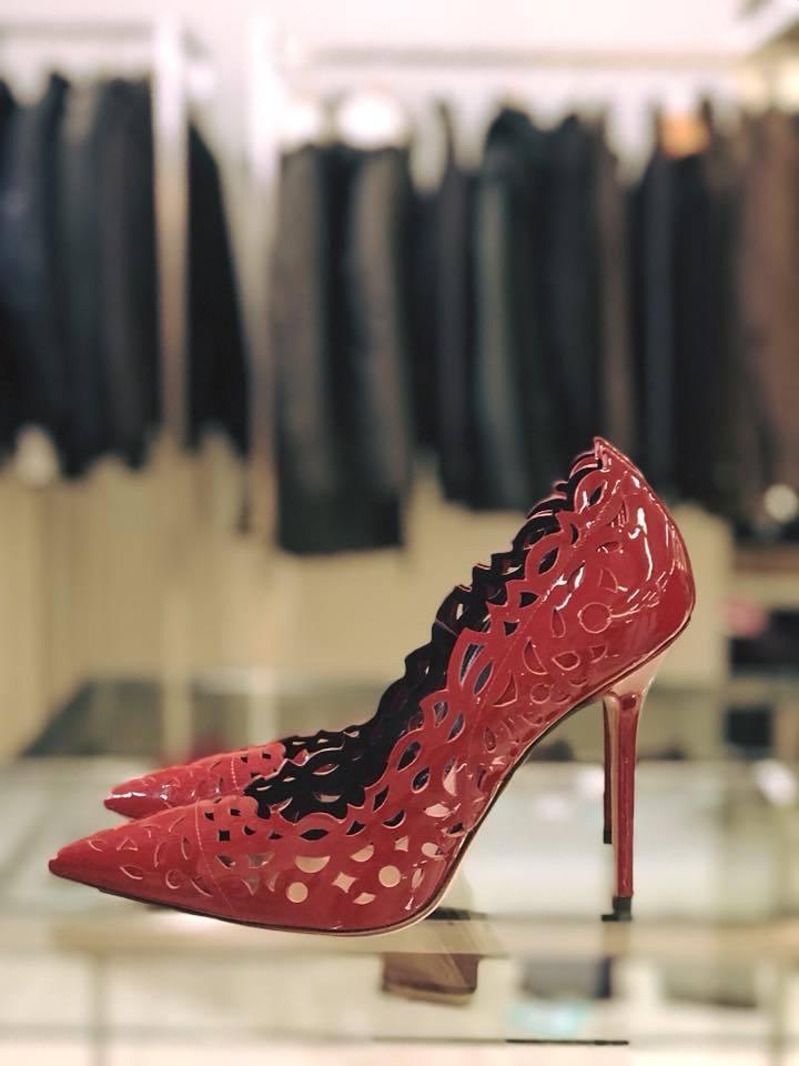 TWIN SET Decoltè Simona Barbieri Decoltè SET Vernice rossa  100% Pelle Tacco Stiletto 10 cm 550bba
