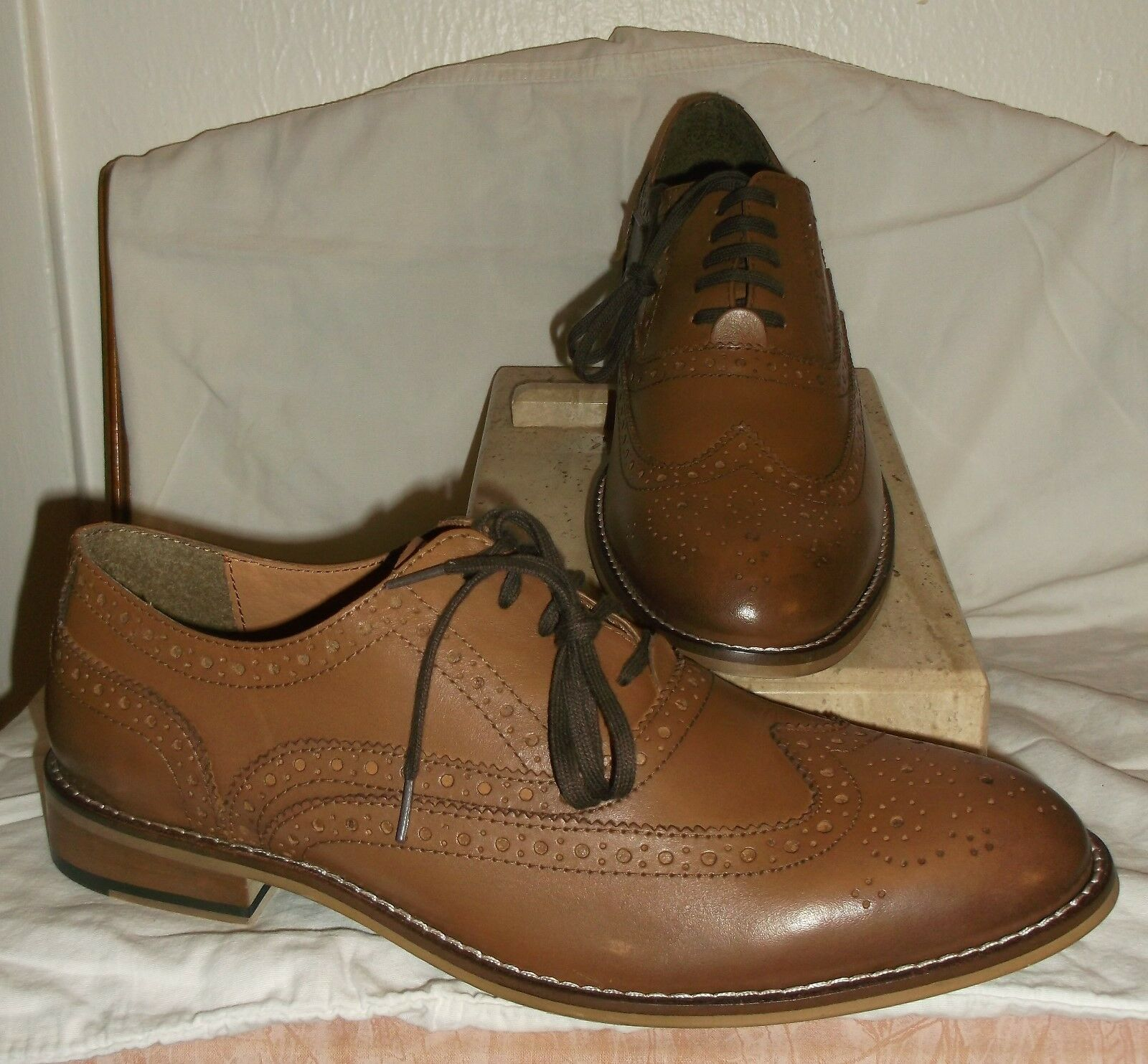 *NIB* STAFFORD ~ COGNAC LEATHER NOLAN WINGTIP OXFORDS~ 8 M