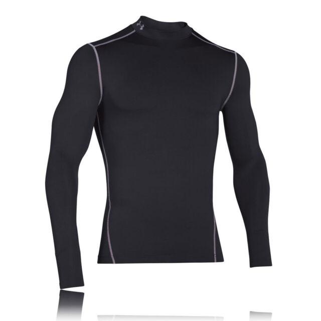 Under Armour Mens Black Coldgear Compression Long Sleeve Sports Mock Top