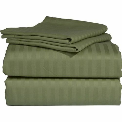 Super Duvet Collection 1000 Thread Count Egyptian Cotton All Sizes Moss Stripe.