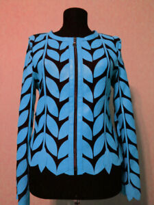 Round Neck Light Blue Short Real Leather Leaf Jacket Womens All Colors Sizes D11