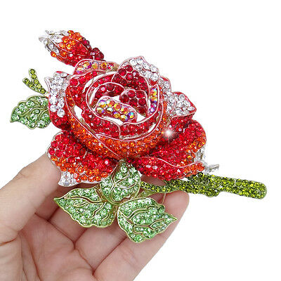 Rose Flower Leaf Red Austrian Crystal Brooch Pin Gold Tone Women Party Gift