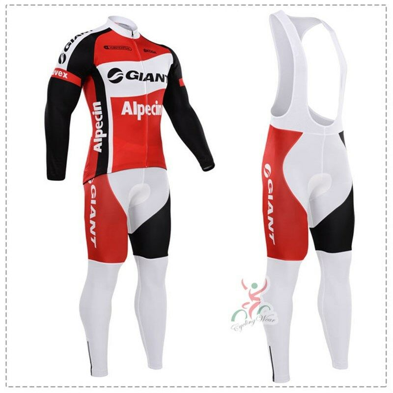 KJS546 New Team Cycling Winter Thermal Fleece long sleeve jersey  Lycra Bib Pants  70% off