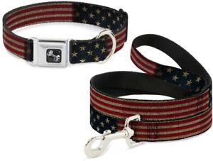 Buckle-Down-Seatbelt-Dog-Collar-or-Leash-US-Flag-Vintage-Stretch-Made-in-USA