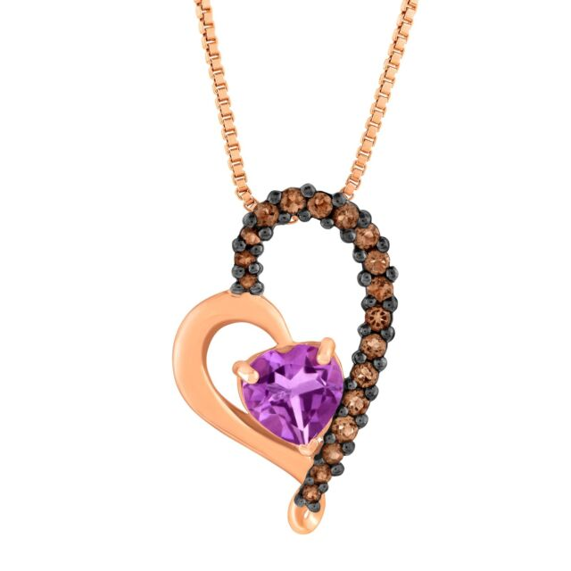 2.90 Ct Oval Purple Amethyst 18K Rose Gold Plated Silver Pendant