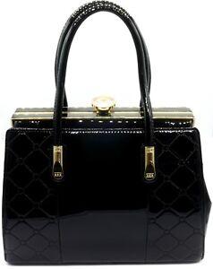 f4207dc60c459 Das Bild wird geladen Tom-amp-Eva-Lack-Tasche-Damen-Schwarz-Handtasche-