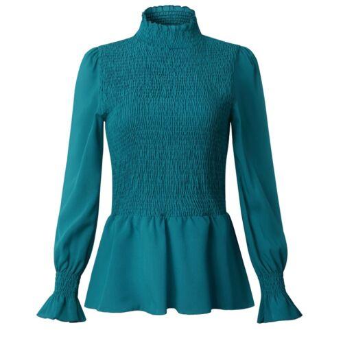 Damen Bluse Hemdbluse Stehkragen Oberteile Hemd Langarm Rüschen Shirts Schleife