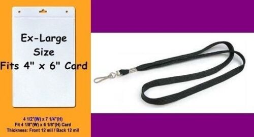 """10 Extra LARGE Clear Badge ID Holders ~ Holds Cards 4/""""w x 6/""""h 10 Neck Lanyards"""