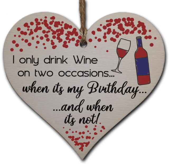 Handmade Wooden Hanging Heart Plaque Gift For Wine Lovers Novelty Funny Birthday